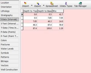 Input interval kedalaman dan I-Data